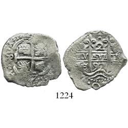 Potosi, Bolivia, cob 2 reales, 1697CH, very rare.