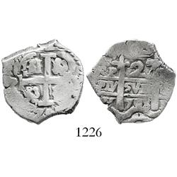 Potosi, Bolivia, cob 2 reales, 1708/7Y, rare (unlisted) overdate.
