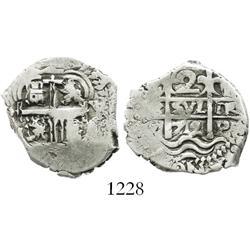 Potosi, Bolivia, cob 2 reales, 1712Y, scarce.