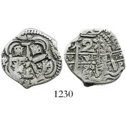 Potosi, Bolivia, cob 2 reales, 1722Y, scarce.