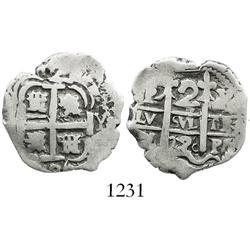 Potosi, Bolivia, cob 2 reales, 1726Y (Louis I).