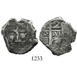 Potosi, Bolivia, cob 2 reales, 1728M.