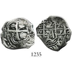 Potosi, Bolivia, cob 2 reales, 1733YA, rare.