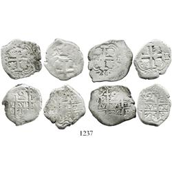 Lot of 4 Potosi, Bolivia, cob 2R of Philip V (1734E, 1735E [2], and 1739M).