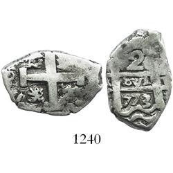 Potosi, Bolivia, cob 2 reales, 1773/2(V-Y), rare final date of cobs.