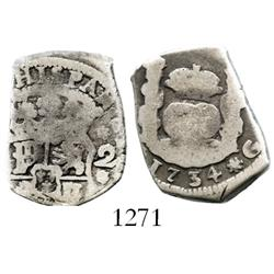 Guatemala, cob 2 reales, 1734(J).