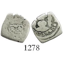 Guatemala, cob 1/2 real, 1734(J).