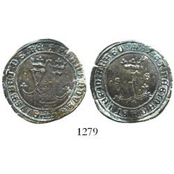 Seville, Spain (for the New World), copper 4 maravedis, Ferdinand-Isabel, assayer * below crowned F