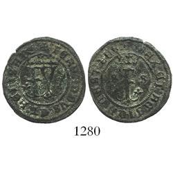 Seville, Spain (for the New World), copper 2 maravedis, Ferdinand-Isabel, assayer * below crowned F,