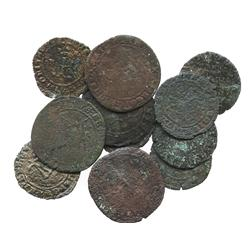 """Lot of 11 copper """"crowned F"""" 4 and 2 maravedis, Ferdinand-Isabel, Seville and Burgos mints (for the"""