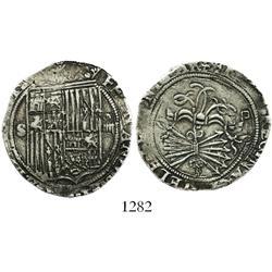 Seville, Spain, 4 reales, Ferdinand-Isabel, assayer Gothic D below yoke.