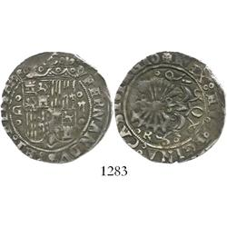 Granada, Spain, 2 reales, Ferdinand-Isabel, assayer R to right of circlet below arrows.