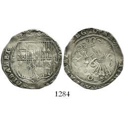 Seville, Spain, 2 reales, Ferdinand-Isabel, assayer * below arrows.