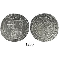 Burgos, Spain, 1 real, Ferdinand-Isabel, assayer scallop-cross potent in legend at 12 o'clock.