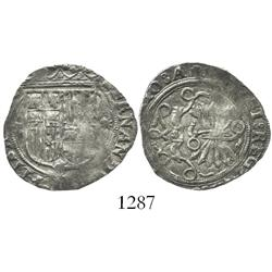 Seville, Spain, 1 real, Ferdinand-Isabel, assayer * to right of shield.
