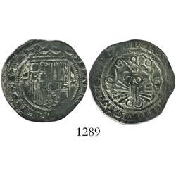 Toledo, Spain, 1 real, Ferdinand-Isabel, assayer M to right of shield.