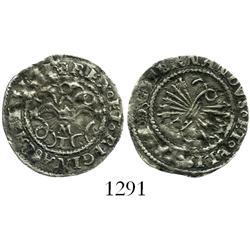 Toledo, Spain, 1/2 real, Ferdinand-Isabel, assayer M above mintmark T below yoke.