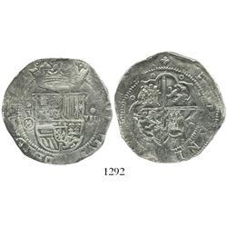 Toledo, Spain, cob 8 reales, Philip II, assayer M-inside-circle (ca. 1590).