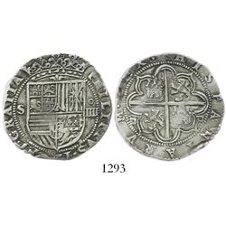 Seville, Spain, cob 4 reales, Philip II, assayer Gothic D outside tressure at 4 and 8 o'clock (pre-1