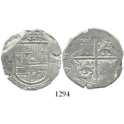 Seville, Spain, cob 4 reales, Philip II, assayer not visible (pre-1588).