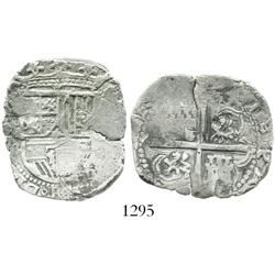 Seville, Spain, cob 4 reales, Philip II, assayer B (1592-98).