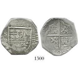 Seville, Spain, cob 4 reales, Philip III, assayer B (1601-15).