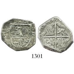 Seville, Spain, cob 2 reales, 1604B, scarce.
