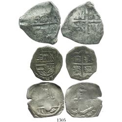 Lot of 3 cobs of the 1600s (one 8R of Philip IV and two 4R of Philip III and IV), various mints, ass