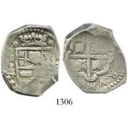 Madrid, Spain, cob 4 reales, Philip IV, assayer A/BI(?), scarce.