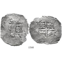 Seville, Spain, cob 8 reales, Charles II, assayer not visible.