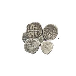 Lot of 8 Spanish colonial cob 1R of the 1600s and 1700s, mostly Potosi, several with visible dates.