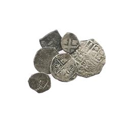 Lot of 6 Spanish colonial cobs of the 1600s and 1700s (one 4R, four 1R and one 1/2R), various mints