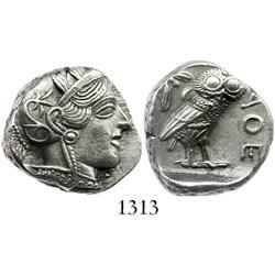 """ATTICA, Athens, silver tetradrachm """"owl,"""" 449-413 BC."""