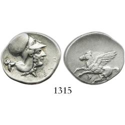 "CORINTHIA, Corinth, silver stater ""pegasus,"" 350-300 BC, ex: Lockett collection."