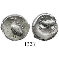 "SICILY, Akragas, silver didrachm ""crab,"" ca. 490-480 BC."