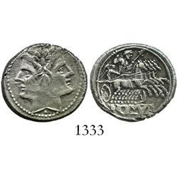 Roman Republic, silver didrachm (quadrigatus), ca. 215-214 BC.