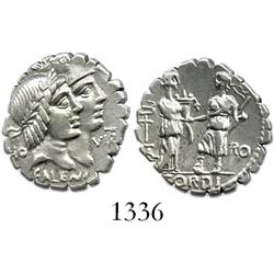 Roman Republic, silver denarius (serrated), moneyer Q. Fufius Calenus and Mucius, ca. 70 BC.