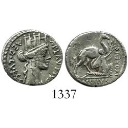 Roman Republic, silver denarius, moneyer A. Plautius, Rome mint, 55 BC.
