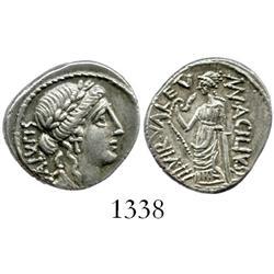 Roman Republic, silver denarius, moneyer Man. Acilius Glabrio, 49 BC.