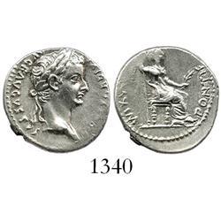 Roman Empire, silver denarius, Tiberius, 14-37 AD.