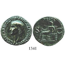 Roman Empire, bronze as, Caligula, 37-41 AD.