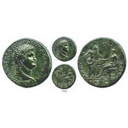 Roman Empire, bronze sestertius, Nero (54-68 AD), Lugdunum mint, 66 AD, rare.