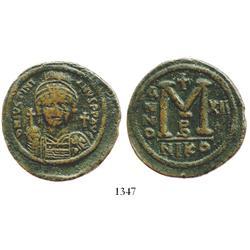 Byzantine Empire, bronze follis, Justinian I, 527-565 AD.