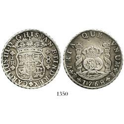 "Potosi, Bolivia, pillar 8 reales, Charles III, 1768JR, ""VRTA"" error, 4-petalled floret, unique."