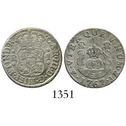Potosi, Bolivia, pillar 1 real, Charles III, 1767JR.