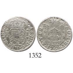 Potosi, Bolivia, pillar 1 real, Charles III, 1769JR.