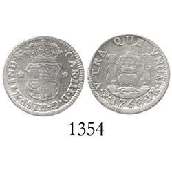Potosi, Bolivia, pillar 1/2 real, Charles III, 1768JR.