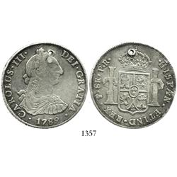 Potosi, Bolivia, bust 8 reales, Charles III, 1789PR.