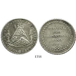 Potosi, Bolivia, silver 8R proclamation medal, Ferdinand VII, 1808.