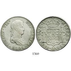 Potosi, Bolivia, bust 8 reales, Ferdinand VII, 1808PJ.